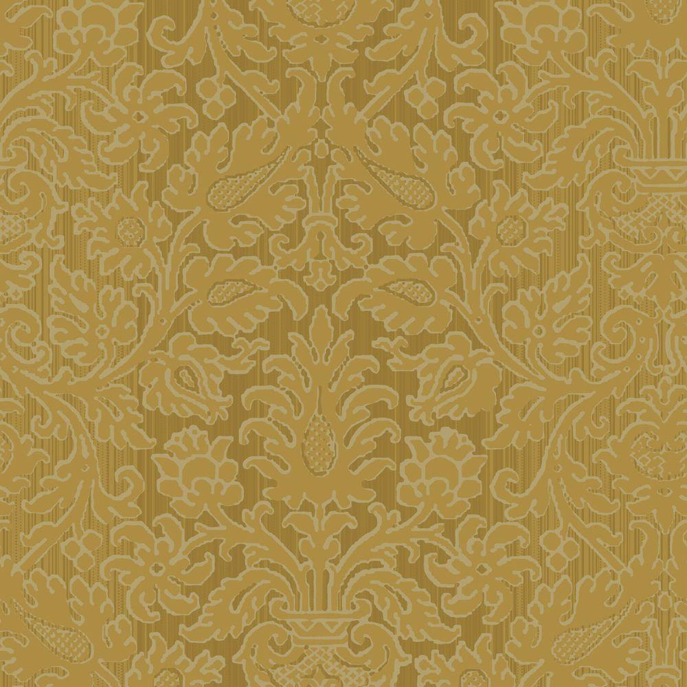 The Wallpaper Company 56 sq. ft. Antique Gold Kilim Damask Wallpaper