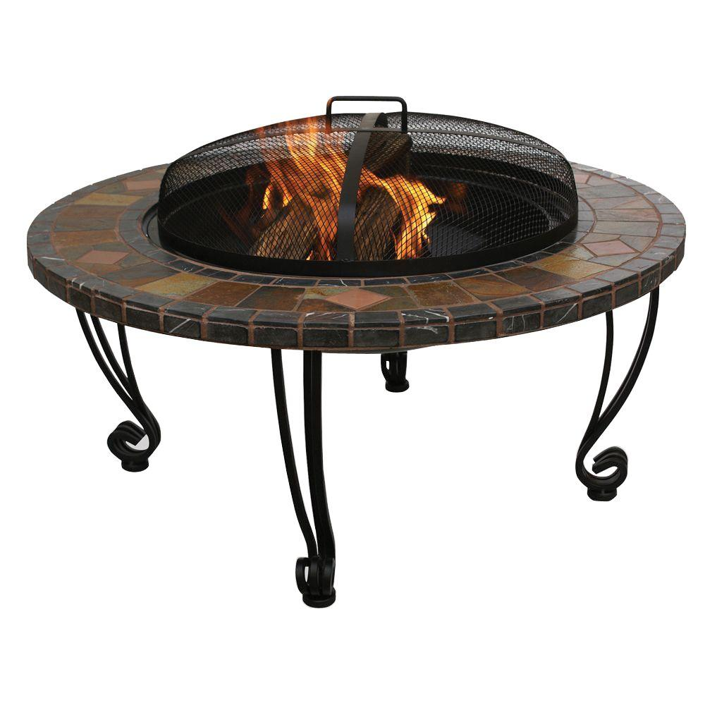 34 in. Wrought Iron Fire Pit with Slate Tile and Copper