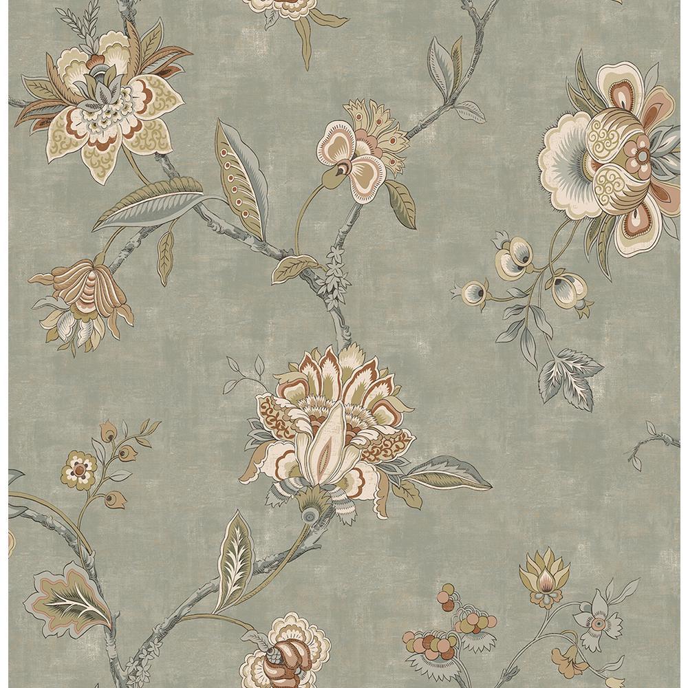 8 in. x 10 in. Madison Sage Jacobean Wallpaper Sample