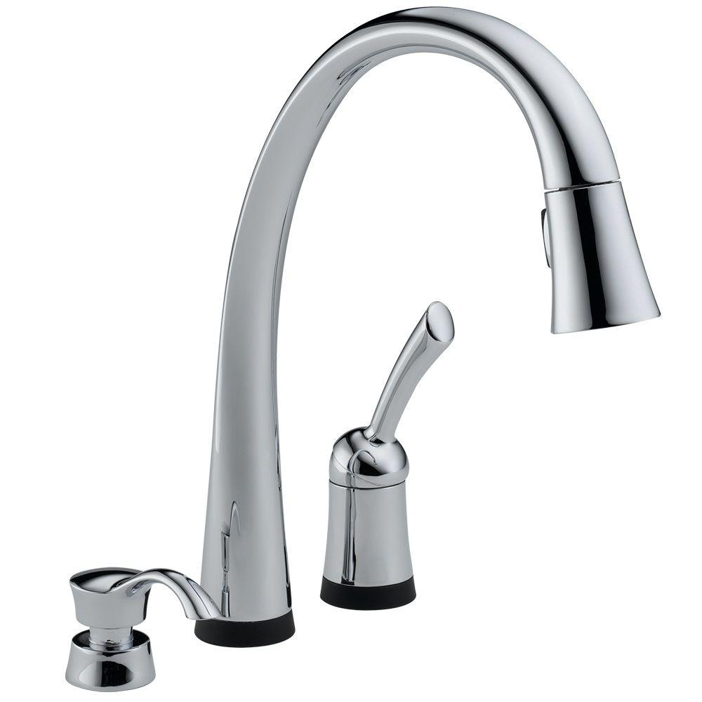 Pilar Single-Handle Pull-Down Sprayer Kitchen Faucet with Soap Dispenser in