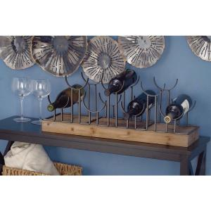 10 in. x 26 in. Rustic Wood and Iron Wine Holder