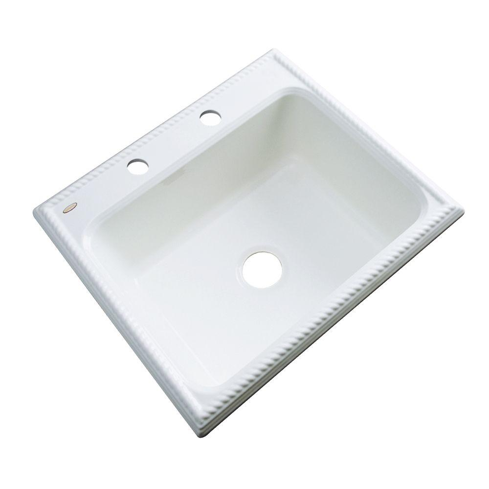 Thermocast Wentworth Drop-In Acrylic 25 in. 2-Hole Single Bowl Kitchen Sink in White