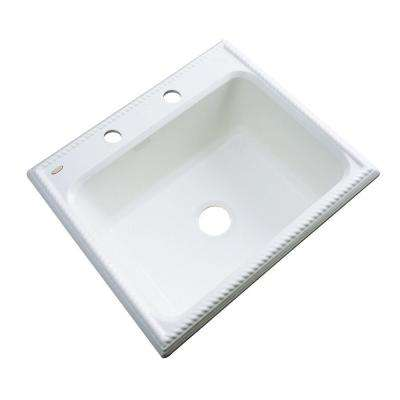 Wentworth Drop-In Acrylic 25 in. 2-Hole Single Bowl Kitchen Sink in White
