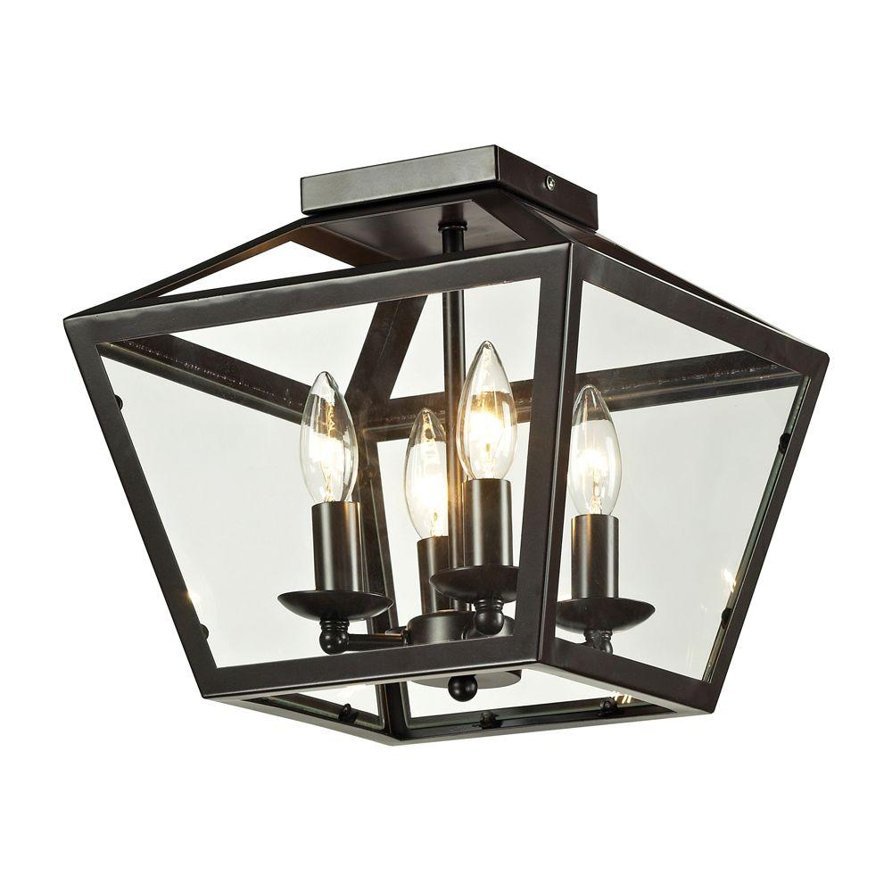 Titan Lighting Haxby Collection 4-Light Oil-Rubbed Bronze Flushmount