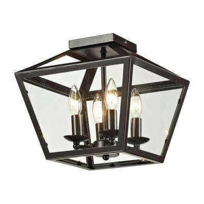 Haxby Collection 4-Light Oil-Rubbed Bronze Flushmount