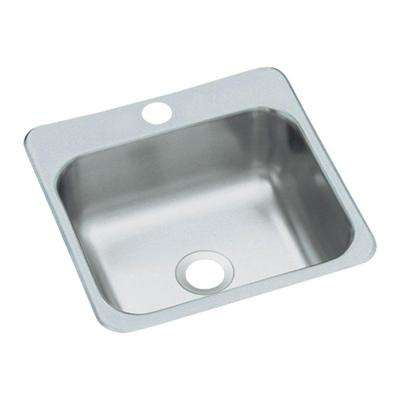 Secondary Drop-In Stainless Steel 15 in. 1-Hole Single Bowl Kitchen Sink