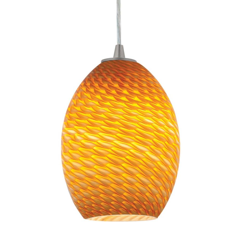Access Lighting 1-Light Pendant Brushed Steel Finish Amber GlassFB-DISCONTINUED