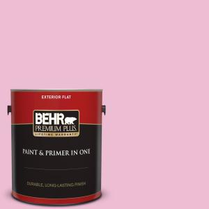 Behr Premium Plus 1 Gal 100b 4 Pink Chintz Flat Exterior Paint And Primer In One 405001 The Home Depot
