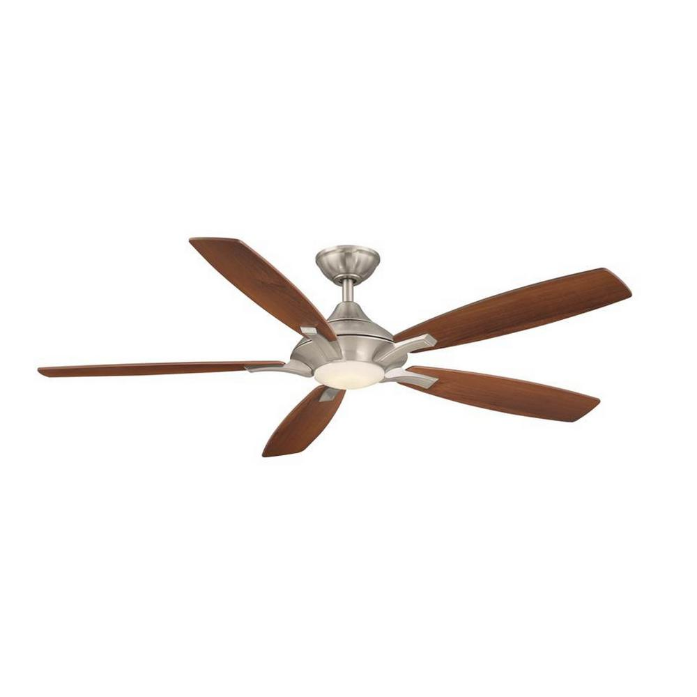 Home Decorators Collection Petersford 56 in. Integrated LED Indoor Brushed Nickel Ceiling Fan Ceiling Fan with Light Kit and Remote Control
