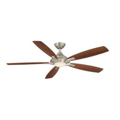 Petersford 56 in. Integrated LED Indoor Brushed Nickel Ceiling Fan with Remote Control works with Google and Alexa