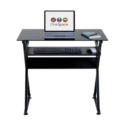 38 in. Rectangular Black Computer Desk with Keyboard Tray