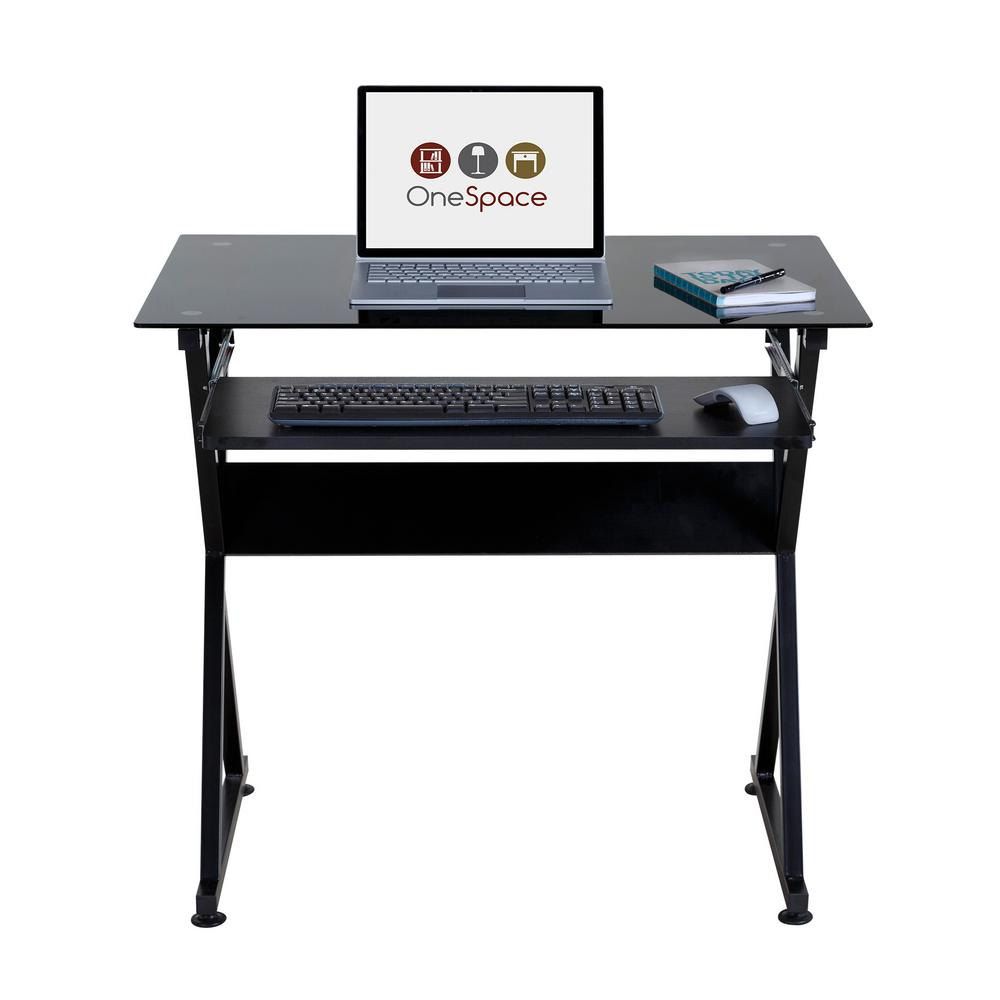 Onespace Ultramodern Black Glass Computer Desk With Pull Out Keyboard Tray