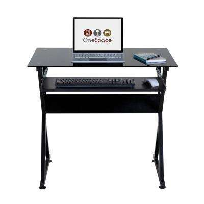 Ultramodern Black Glass Computer Desk with Pull-Out Keyboard Tray