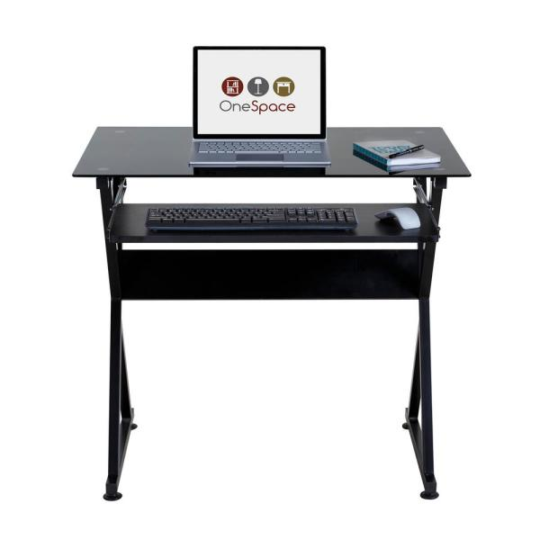 Onee Ultramodern Black Gl Computer Desk With Pull Out Keyboard Tray