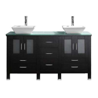 Bradford 60 in. W Bath Vanity in Espresso with Glass Vanity Top in Aqua Tempered Glass with Square Basin and Faucet