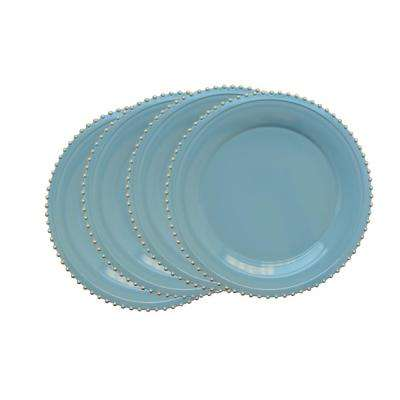 Blue Melamine Charger Plates with Gold Beaded (4-Pack)