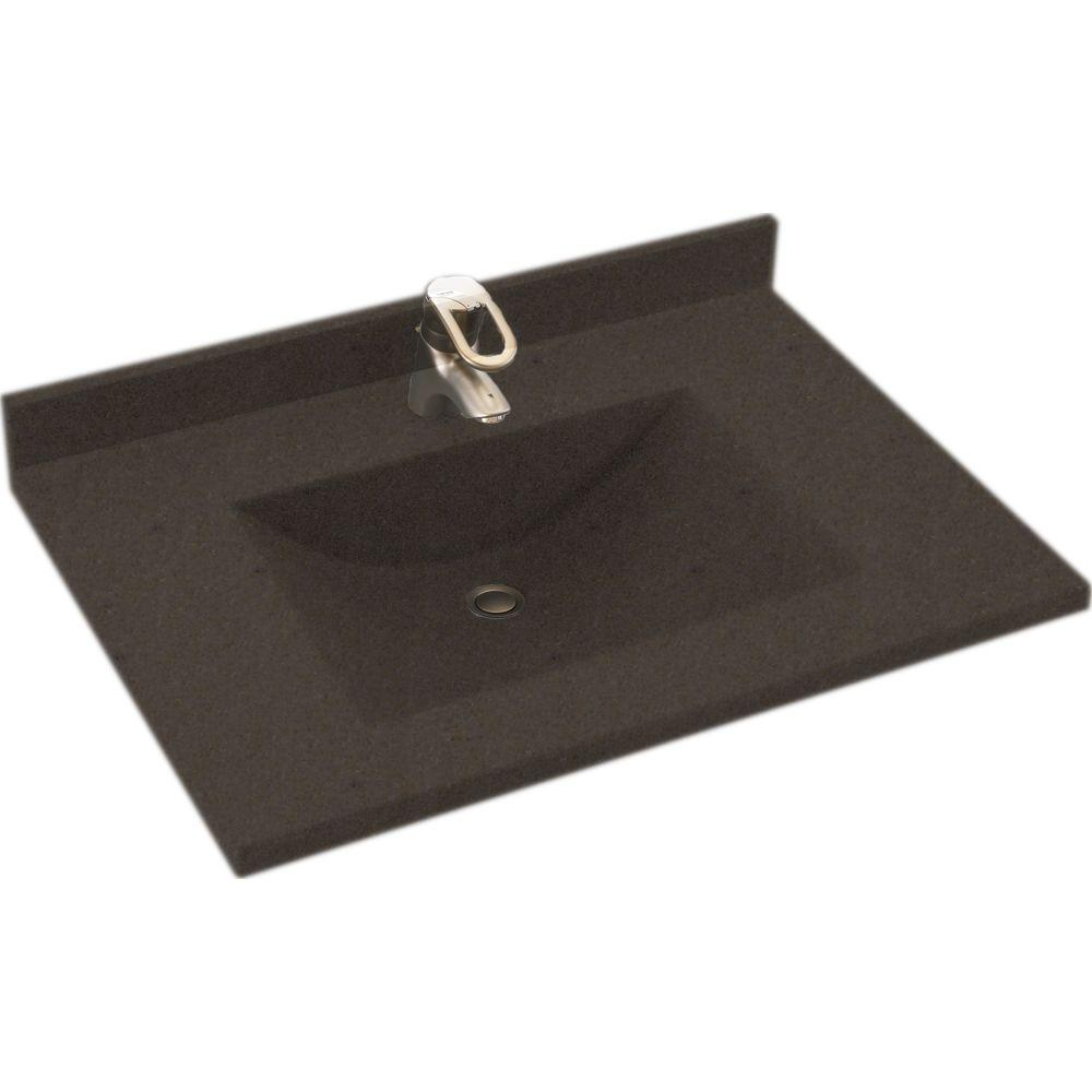 Swanstone Contour 37 in. Solid Surface Vanity Top with Basin in Canyon