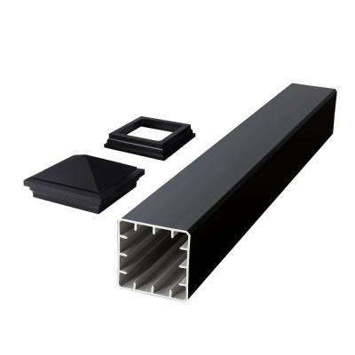 Symmetry 5 in. x 5 in. x 45 in. Serene Black Capped Composite Beveled Post Sleeve Kit with Cap and Skirt