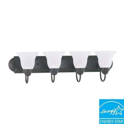 4-Light Mahogany Bronze Fluorescent Wall Vanity Light