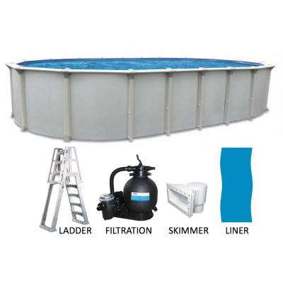 18 ft. x 33 ft. Oval x 54 in. Deep Buttress Free Hard Sided Above Ground Pool Package with 7 in. Top Rail