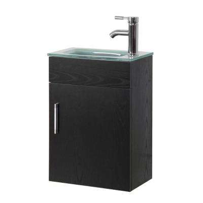 Sheffield 16.5 in. W x 10 in. D Floating Vanity in Black with Tempered Frosted Glass Vanity Top in Seafoam