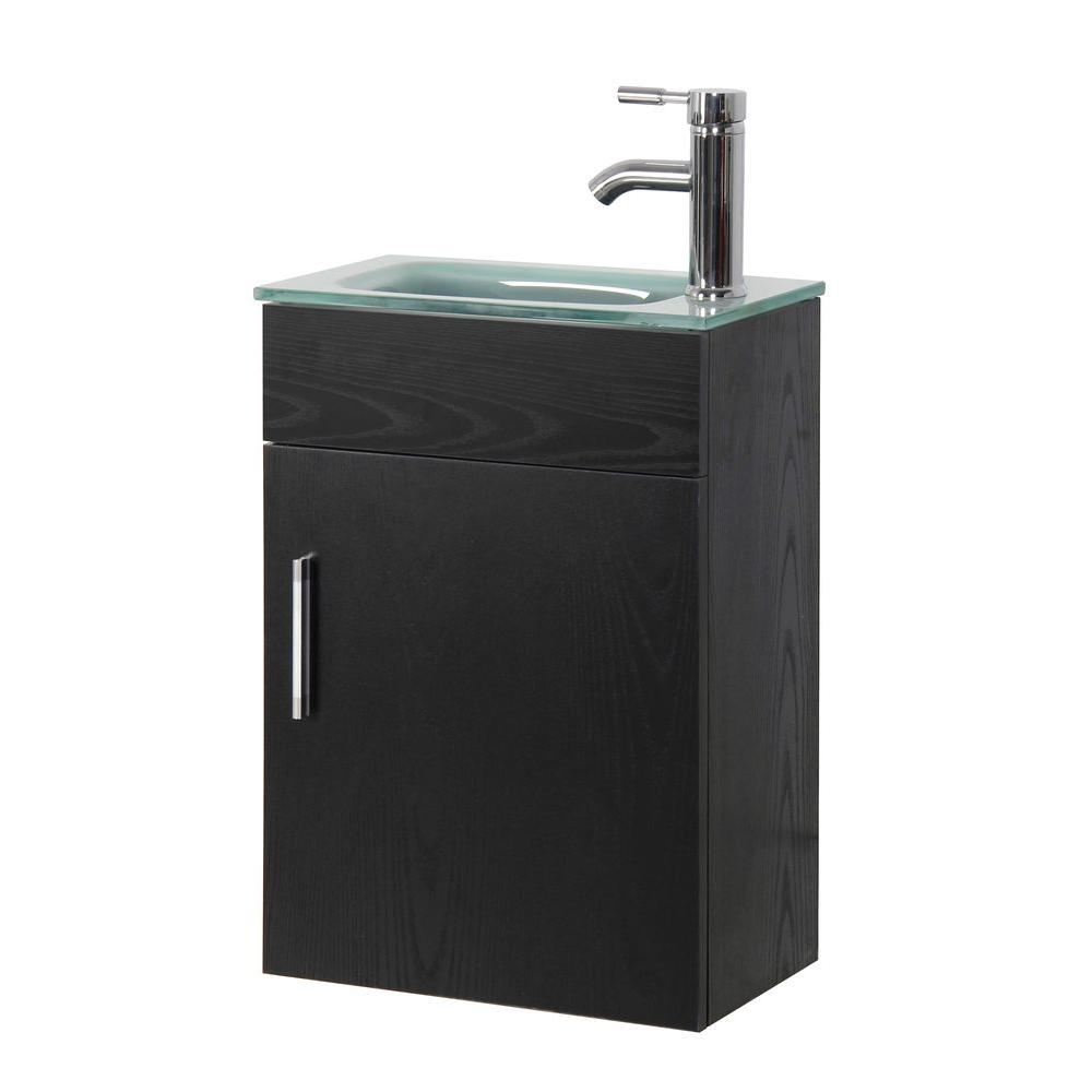 Sheffield home sheffield 16 5 in w x 10 in d floating vanity in black with tempered frosted Bathroom design and installation sheffield