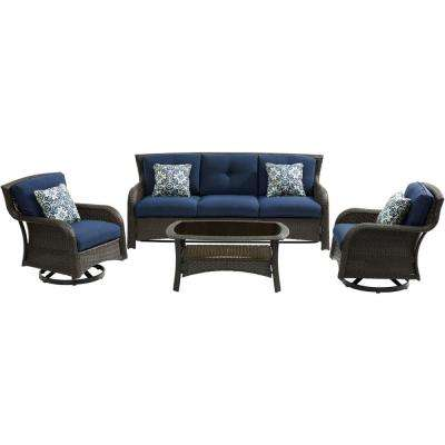 Strathmere 4-Piece Wicker Patio Sectional Seating Set with Navy Blue Cushions