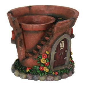Exhart Solar Fairy House Flower Pot by Exhart