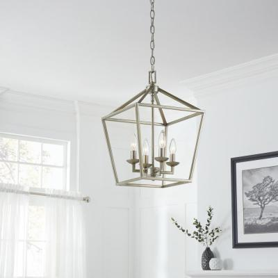 Weyburn 4-Light Antique Silver Leaf Caged Chandelier