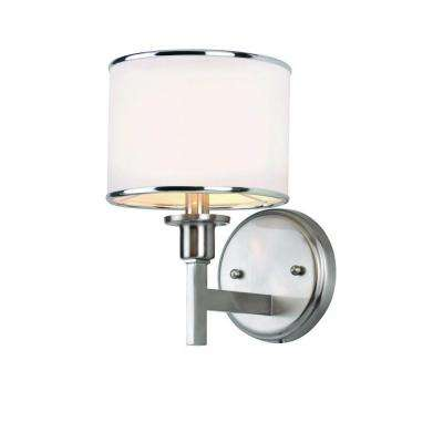 Cabernet Collection 1-Light Brushed Nickel Sconce with White Linen Shade
