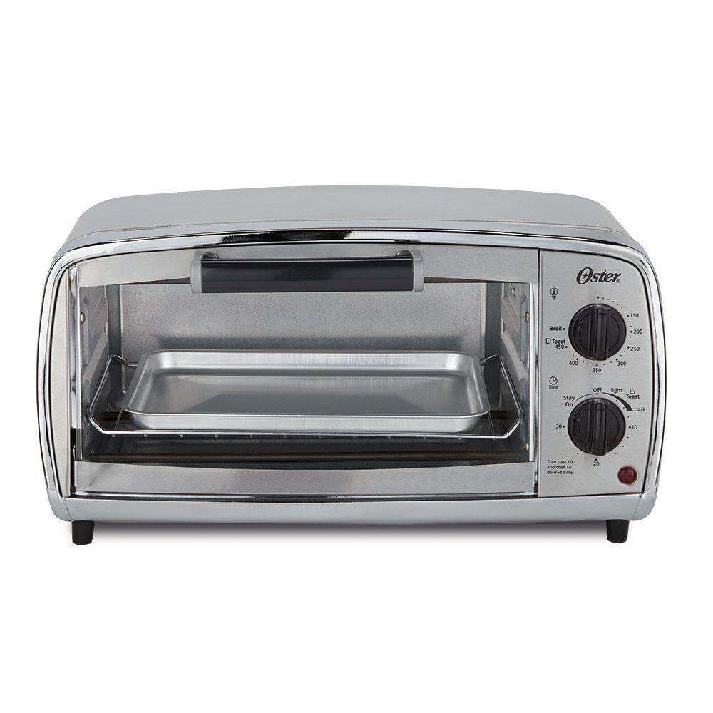 4-Slice Stainless Toaster Oven This 4-Slice Toaster Oven uses manual controls to set cooking time up to 30 minutes and temperature up to 450°. Choose continuous cooking setting for longer cook times. Ideal for snacks, meals on-the-go, or when traditional oven cooking is inconvenient. Baking rack adjusts in two positions, accommodating a variety of foods. Baking pan included. Color: Stainless.
