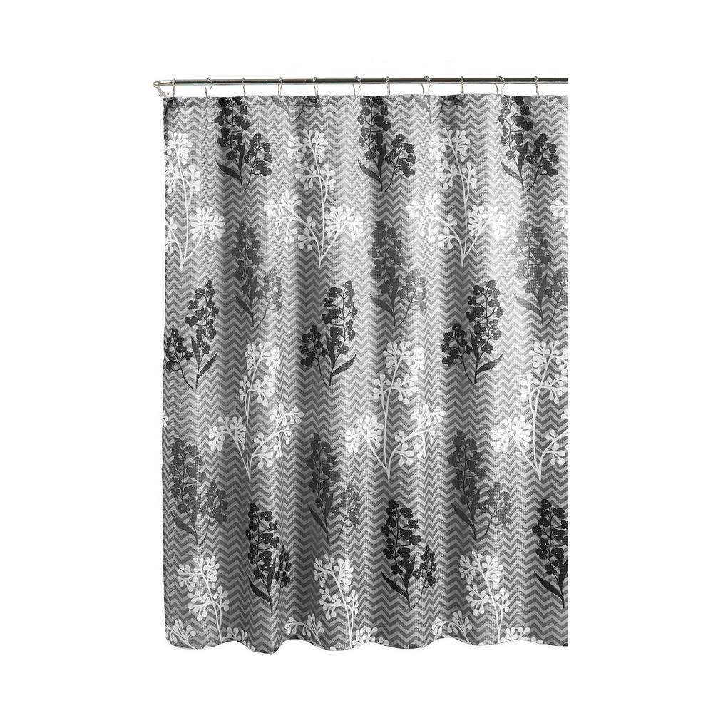 Diamond Weave Textured 70 In W X 72 L Shower Curtain With Metal Roller Rings Whimsy Leaves Gray