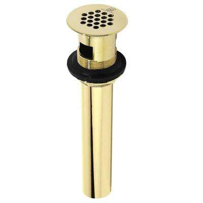 9-3/4 in. x 2.2 in. Polished Brass Grid Drain with Overflow