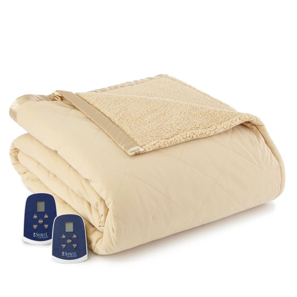 Reverse to Sherpa Queen Chino Electric Heated Blanket