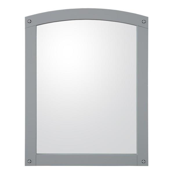 24 in. W x 30 in. H Framed Arched  Bathroom Vanity Mirror in Grey