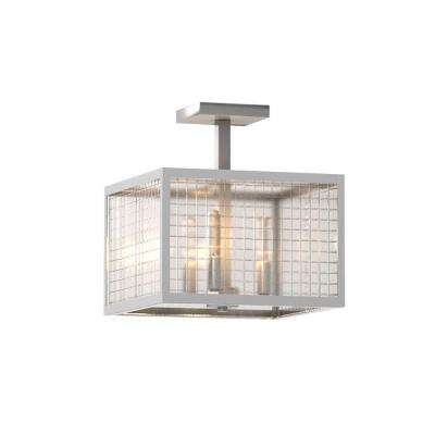 3-Light Brushed Nickel Semi-Flush Mount Light with Etched Clear Glass Shades