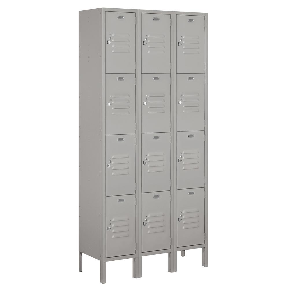 64000 Series 36 in. W x 78 in. H x 12 in. D 4-Tier Metal Locker Assembled in Gray
