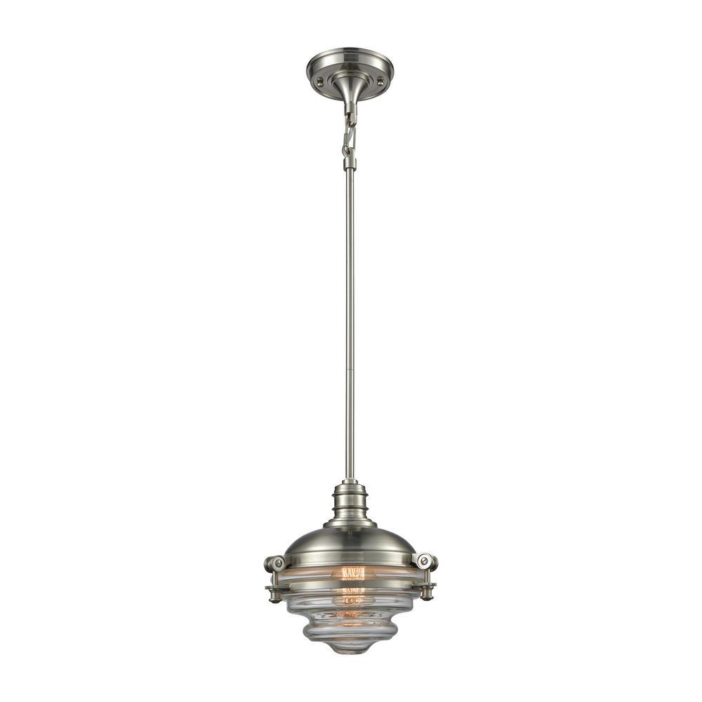 Titan Lighting Riley 1-Light Satin Nickel with Clear Glas...