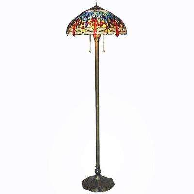 Tiffany Blue Dragonfly 60 in. Bronze Floor Lamp