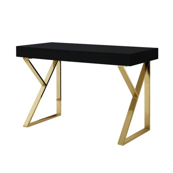Inspired Home Biaochi Black Gold Desk With 2 Drawers Dk151 09bk Hd