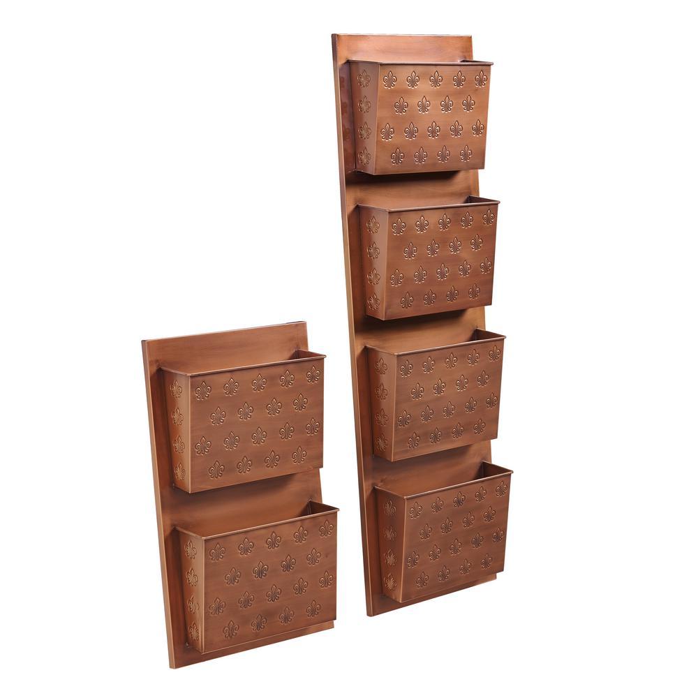 2-Slot Copper Fleur-de-Lis Decorative Wall File Storage Hanger
