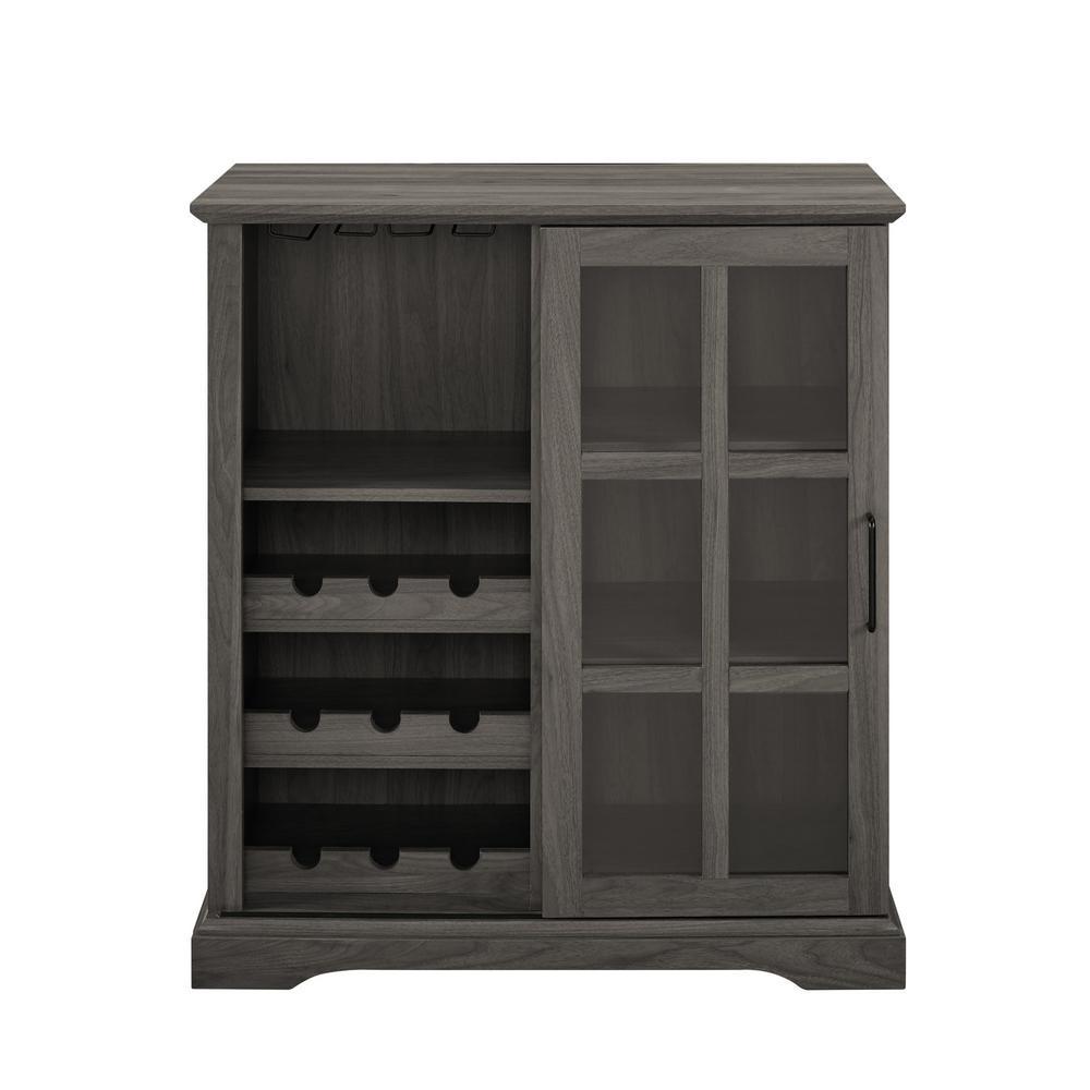 36 in. Slate Grey Sliding Glass Door Bar Cabinet