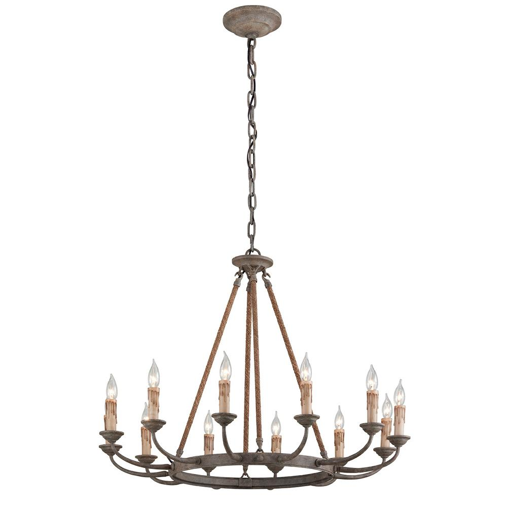 Troy lighting cyrano 12 light earthen bronze with natural manila rope chandelier