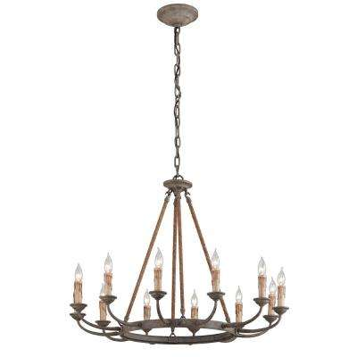 Cyrano 12-Light Earthen Bronze with Natural Manila Rope Chandelier