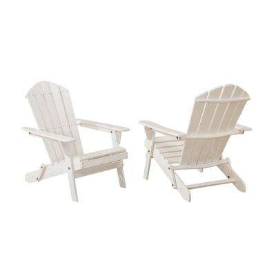 Classic White Folding Wooden Adirondack Chair (2-Pack)