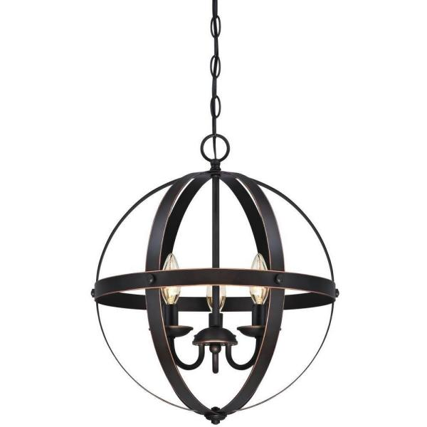 Stella Mira 3-Light Oil-Rubbed Bronze with Highlights Pendant