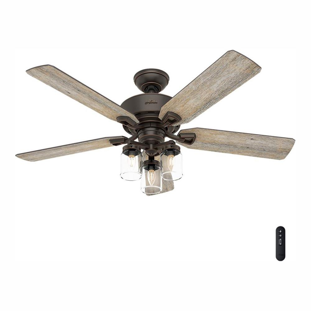 Hunter Devon Park 52 in  Indoor Onyx Bengal Ceiling Fan with Light Kit and  Handheld Remote Control