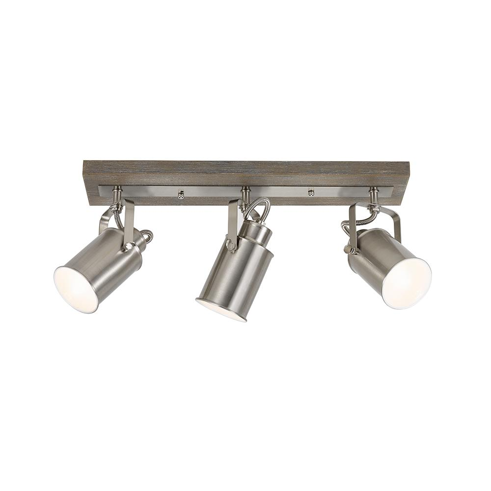 Alsy 1.7 ft. 3-Light Faux Driftwood Gray with Brushed Nickel Shades Track Lighting Kit