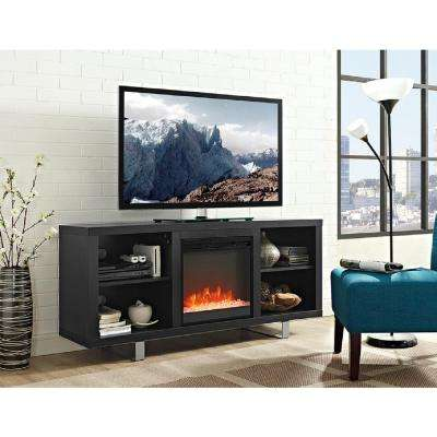 58 in. Simple Modern Fireplace TV Console in Black