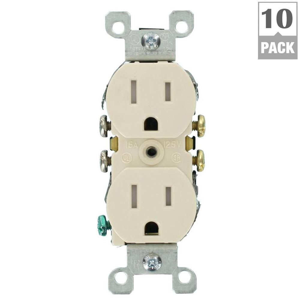 15 Amp Tamper-Resistant Duplex Outlet, Light Almond (10-Pack)